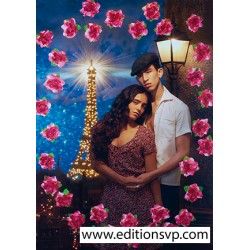 lovers eiffel tower flower roses Paris